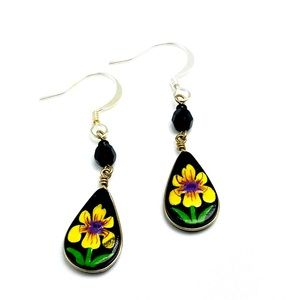BOGO Handmade yellow iris dangly earrings black
